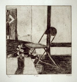 #38 (folding chair, potted plant, standing woman), from the portfolio 41 Etchings Drypoints