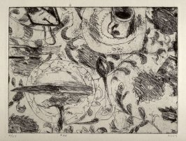#36 (table setting on flowered tablecloth), from the portfolio 41 Etchings Drypoints