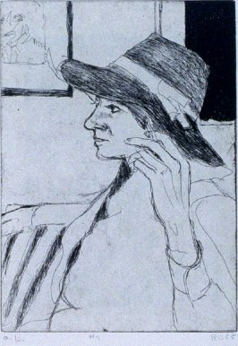 #5 (Phyllis wearing a hat) in the book, 41 Etchings Drypoints by Richard Diebenkorn ([Berkeley]: Crown Point Press, 1965)