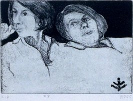 #8 (double portrait of Phyllis with motif taken from rug in artist's living room used also as insignia on book cover) in the book, 41 Etchings Drypoints by Richard Diebenkorn ([Berkeley]: Crown Point Press, 1965)
