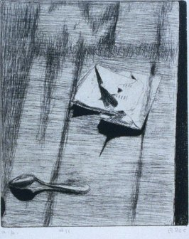 #11 (opened letter on a table) in the book, 41 Etchings Drypoints by Richard Diebenkorn ([Berkeley]: Crown Point Press, 1965)