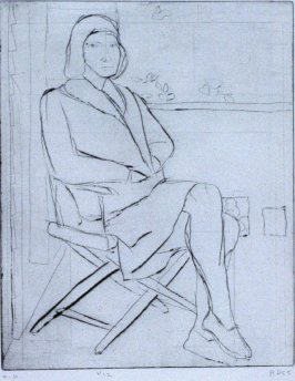 #12 (Phyllis on outside deck) in the book, 41 Etchings Drypoints by Richard Diebenkorn ([Berkeley]: Crown Point Press, 1965)