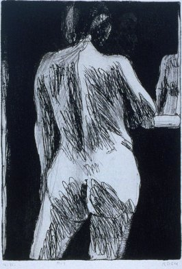 #17 (back view of standing nude woman wirth partial reflection) in the book, 41 Etchings Drypoints by Richard Diebenkorn ([Berkeley]: Crown Point Press, 1965)