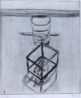 #19 (still life with pencil, glass, and box with cigarettes) in the book, 41 Etchings Drypoints by Richard Diebenkorn ([Berkeley]: Crown Point Press, 1965)