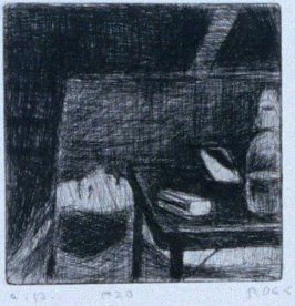 #20 (painting in artist's studio, lying on its side behind small table) in the book, 41 Etchings Drypoints by Richard Diebenkorn ([Berkeley]: Crown Point Press, 1965)