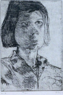 #21 (portrait of Phyllis) in the book, 41 Etchings Drypoints by Richard Diebenkorn ([Berkeley]: Crown Point Press, 1965)