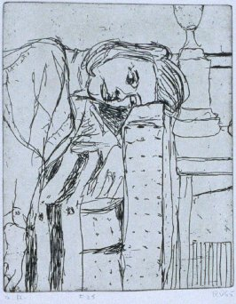 #25 ( Phyllis leaning head on arm of couch) in the book, 41 Etchings Drypoints by Richard Diebenkorn ([Berkeley]: Crown Point Press, 1965)