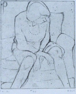 #30 (Phyllis at home) in the book, 41 Etchings Drypoints by Richard Diebenkorn ([Berkeley]: Crown Point Press, 1965)