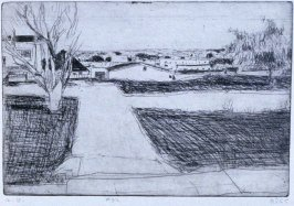 #32 (street scene----trees. houses, lawns )in the book, 41 Etchings Drypoints by Richard Diebenkorn ([Berkeley]: Crown Point Press, 1965)