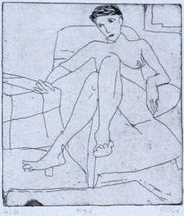 #34 (nude drawn during model session) in the book, 41 Etchings Drypoints by Richard Diebenkorn ([Berkeley]: Crown Point Press, 1965)