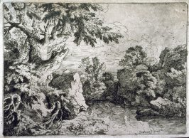 Landscape with river flowing between rocky banks
