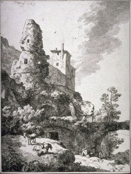 Landscape with archway (ruined tower and three goats)