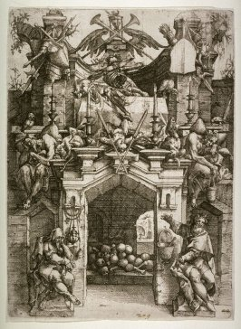Large archway with figures and emblems