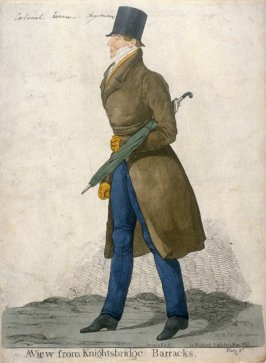 """Caricature (full figure) of Captain Horace Seymour - """"A View from Knightsbridge Barracks"""""""
