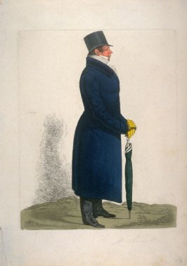 Man in blue coat with green umbrella, facing right