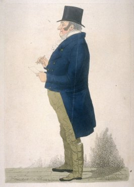 Man in blue coat, facing left