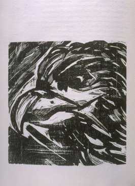 """Eagle,"" illustration in the book The Apocalypse/The Revelation of Saint John The Divine/The Last Book of the New Testament from the King James Version of the Bible, 1611, with Twenty-nine Prints from Woodblocks Cut by Jim Dine. (San Francisco: The Arion"