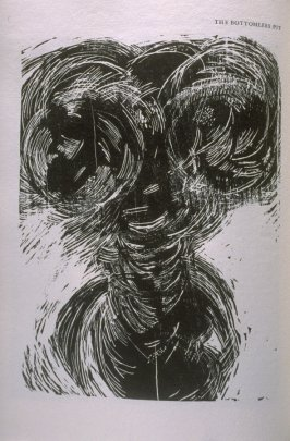 """""""The Bottomless Pit,"""" illustration in the book The Apocalypse/The Revelation of Saint John The Divine/The Last Book of the New Testament from the King James Version of the Bible, 1611, with Twenty-nine Prints from Woodblocks Cut by Jim Dine. (San Francisc"""