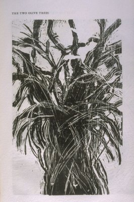 """""""The Two Olive Trees,"""" illustration in the book The Apocalypse/The Revelation of Saint John The Divine/The Last Book of the New Testament from the King James Version of the Bible, 1611, with Twenty-nine Prints from Woodblocks Cut by Jim Dine. (San Francis"""