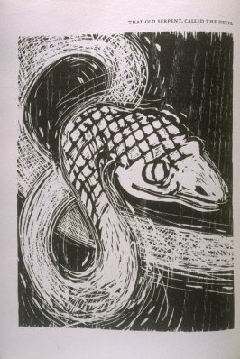 """""""That Old Serpent, Called the Devil,"""" illustration in the book The Apocalypse/The Revelation of Saint John The Divine/The Last Book of the New Testament from the King James Version of the Bible, 1611, with Twenty-nine Prints from Woodblocks Cut by Jim Din"""