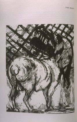 """The Beast,"" illustration in the book The Apocalypse/The Revelation of Saint John The Divine/The Last Book of the New Testament from the King James Version of the Bible, 1611, with Twenty-nine Prints from Woodblocks Cut by Jim Dine. (San Francisco: The Ar"