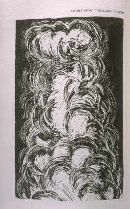 """Smoke from the Glory of God,"" illustration in the book The Apocalypse/The Revelation of Saint John The Divine/The Last Book of the New Testament from the King James Version of the Bible, 1611, with Twenty-nine Prints from Woodblocks Cut by Jim Dine. (San"