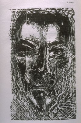 """I Jesus,"" illustration in the book The Apocalypse/The Revelation of Saint John The Divine/The Last Book of the New Testament from the King James Version of the Bible, 1611, with Twenty-nine Prints from Woodblocks Cut by Jim Dine. (San Francisco: The Ario"