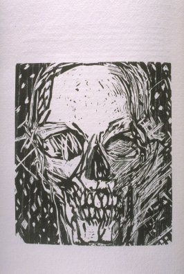 """""""There Shall Be No More Death,"""" illustration in the book The Apocalypse/The Revelation of Saint John The Divine/The Last Book of the New Testament from the King James Version of the Bible, 1611, with Twenty-nine Prints from Woodblocks Cut by Jim Dine. (Sa"""