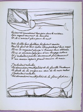 Fifth page of the poem La dernière nuit in the book Poésie et verité 1942 by Paul Eluard (Paris: Roger Lacourière, 1947)