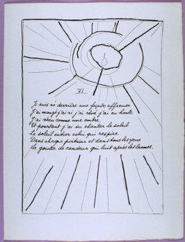 Sixth page of the poem La dernière nuit in the book Poésie et verité 1942 by Paul Eluard (Paris: Roger Lacourière, 1947)