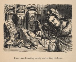 Rabelais, dissecting society and writing his book, illustration opposite page 8 in the book The Works of Rabelais faithfully translated from the French. With variorum notes, and numerous illustrations by Gustave Doré. 2nd English ed. (London: Chatto & Win