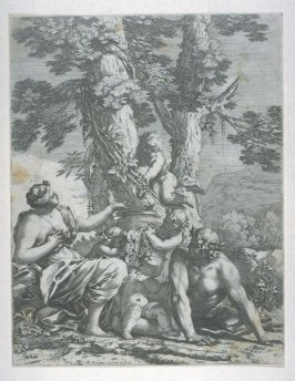 Mythological Scene: Man and Woman sitting under tree, four Cupids gathering grapes