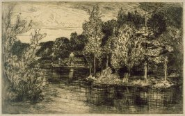 Landscape with Water in Foreground, Island to Right