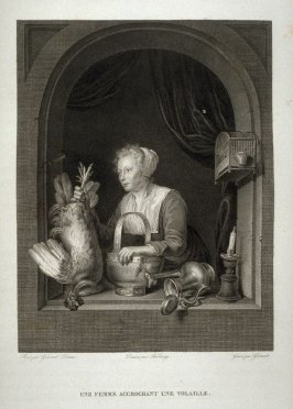 Une Femme Accrochant Une Volaille...(The woman with the trussed fowl)...Thirtieth plate in the book... Le Musée royal (Paris: P. Didot, l'ainé, 1818), vol. 2