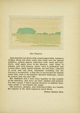 "Untitled, accompanying the paragraphs discussing ""The Pictures,"" in the book By Salt Marshes by Everett Stanley Hubbard (Publisher and location unknown, 1908)"