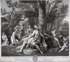 Leda and the swan (nymphs bathing with swans and cupids)