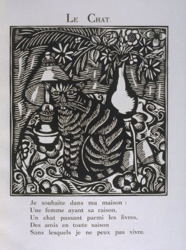 """Le Chat"" in the book Le Bestiaire ou cortège d'Orphée by Guillaume Apollinaire (Paris: Deplanche, Éditeur d'Art, 1911)."