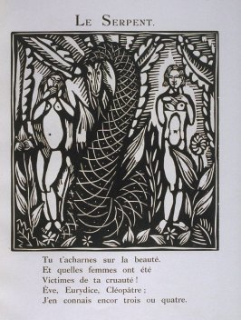 """Le Serpent"" in the book Le Bestiaire ou cortège d'Orphée by Guillaume Apollinaire (Paris: Deplanche, Éditeur d'Art, 1911)."