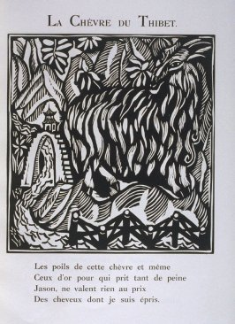 """Le Chevre du Thibet"" in the book Le Bestiaire ou cortège d'Orphée by Guillaume Apollinaire (Paris: Deplanche, Éditeur d'Art, 1911)."