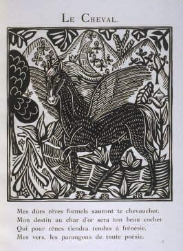 """Le Cheval"" in the book Le Bestiaire ou cortège d'Orphée by Guillaume Apollinaire (Paris: Deplanche, Éditeur d'Art, 1911)."