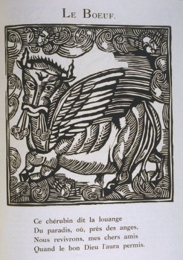 """Le Boeuf"" in the book Le Bestiaire ou cortège d'Orphée by Guillaume Apollinaire (Paris: Deplanche, Éditeur d'Art, 1911)."