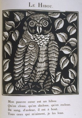 """Le Hibou"" in the book Le Bestiaire ou cortège d'Orphée by Guillaume Apollinaire (Paris: Deplanche, Éditeur d'Art, 1911)."