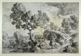 Landscape, road with horse and rider leading upwards