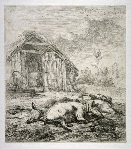 Three Pigs in front of the Pigsty