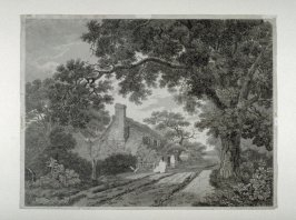 English rural scene with cottage