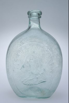 "Flask aquamarine, inscribed ""Washington...reverse: A Little More Grape..."