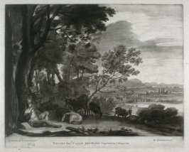 Landscape with a Goatherd, plate 15 from vol.I of Earlom's Liber Veritatis (1777)