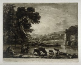Pastoral Landscape with the Arch of Titus, plate 82 from vol.I of Earlom's Liber Veritatis (1777)