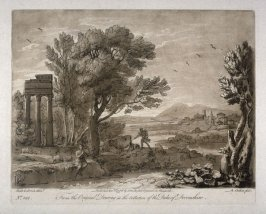 No.128: Landscape with Apollo and Mercury, the 28th plate from vol.II of Earlom's Liber Veritatis (1777)