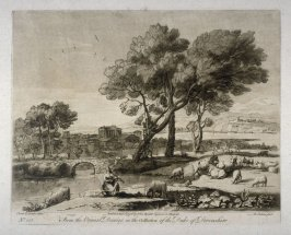 No.135: Landscape with woman playing violin, the 35th plate from vol.II of Earlom's Liber Veritatis (1777)